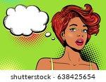 wow pop art female face. sexy... | Shutterstock .eps vector #638425654