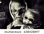 scary horror woman and child | Shutterstock . vector #638428897