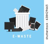 e waste recycle bin filled with ... | Shutterstock .eps vector #638429665