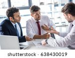 serious business people sitting ... | Shutterstock . vector #638430019