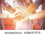 fashion students putting hands... | Shutterstock . vector #638437579