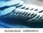 rows of coins on the table for... | Shutterstock . vector #638444011