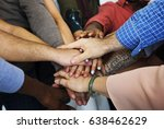 group of people holding hand... | Shutterstock . vector #638462629