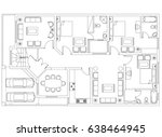 apartment plan drawing | Shutterstock . vector #638464945