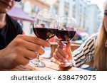 young couple with glasses of... | Shutterstock . vector #638479075