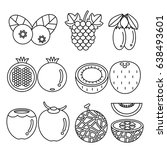 fruits icons. vector... | Shutterstock .eps vector #638493601