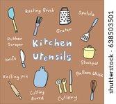 collection of kitchen utensils...   Shutterstock .eps vector #638503501