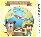traveling with pets on airlines ... | Shutterstock . vector #638523877