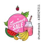 summer sale fruit juice and... | Shutterstock .eps vector #638529211