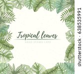 hand drawn tropical palm leaves ... | Shutterstock .eps vector #638535991