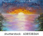 Oil Art On Canvas Of Sunset On...