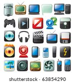 multimedia icon set | Shutterstock .eps vector #63854290