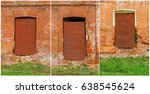 set brick and rusty window and... | Shutterstock . vector #638545624