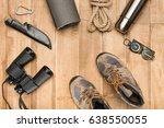 traveler set on wooden...   Shutterstock . vector #638550055