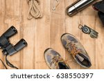 traveler set on wooden... | Shutterstock . vector #638550397