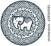round vector tribal ornament... | Shutterstock .eps vector #638569081