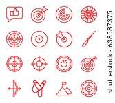 target icons set. set of 16... | Shutterstock .eps vector #638587375