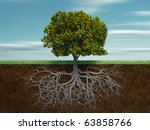 conceptual tree with apple and... | Shutterstock . vector #63858766