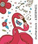 flamingo couple romantic poster.... | Shutterstock .eps vector #638589601