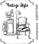 vector illustration of vintage... | Shutterstock .eps vector #638597509