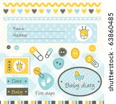 scrapbook baby boy design... | Shutterstock .eps vector #63860485
