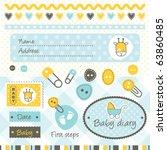scrapbook baby boy design... | Shutterstock .eps vector #63860485