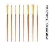 realistic artist paintbrushes... | Shutterstock .eps vector #638606161