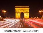 arc de triomphe   paris traffic ... | Shutterstock . vector #638610484