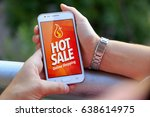 girl at balcony with smartphone.... | Shutterstock . vector #638614975