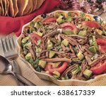 shredded beef salad this... | Shutterstock . vector #638617339
