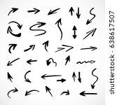 hand drawn arrows  vector set | Shutterstock .eps vector #638617507