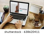 music concept on a device screen | Shutterstock . vector #638620411