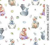 baby seamless hand drawn... | Shutterstock . vector #638623147