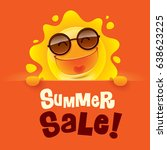 summer sale  summer sun with... | Shutterstock .eps vector #638623225