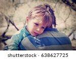 sad crying son hugging father | Shutterstock . vector #638627725