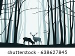 forest landscape with blue... | Shutterstock .eps vector #638627845
