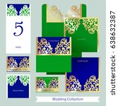 wedding set in oriental style.... | Shutterstock .eps vector #638632387