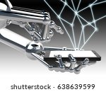 robotic hand holding and touch... | Shutterstock . vector #638639599