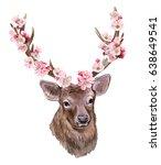 deer with blooming horns... | Shutterstock . vector #638649541
