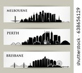 australia cities skylines  ... | Shutterstock .eps vector #638656129