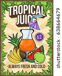 summer tropical multi fruit... | Shutterstock .eps vector #638664679