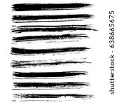 ink vector brush strokes set.... | Shutterstock .eps vector #638665675