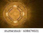 luxury of a golden circle lamp... | Shutterstock . vector #638674021