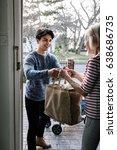 teenage boy is delivering some... | Shutterstock . vector #638686735