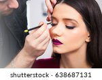 male make up artist draws... | Shutterstock . vector #638687131