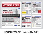 newspaper design template with... | Shutterstock .eps vector #638687581