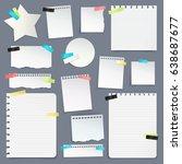 realistic set of paper scraps... | Shutterstock .eps vector #638687677