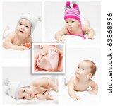 collage. newborn baby   Shutterstock . vector #63868996