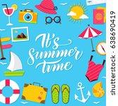 summer time lettering postcard. ... | Shutterstock .eps vector #638690419
