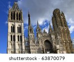 Beautiful gothic architecture on a cathedral in Rouen, France in Normandy - stock photo
